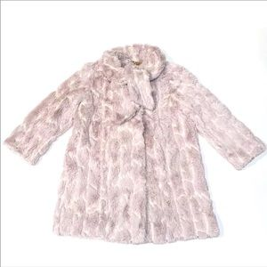 MILLY Minis Girl's Tie Neck Faux Fur Coat/Jacket-5